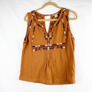 Lucky Brand embroidered sleeveless blouse
